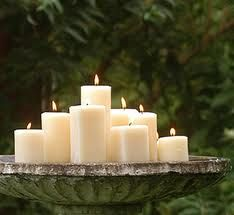 Candles in the Bird Bath..