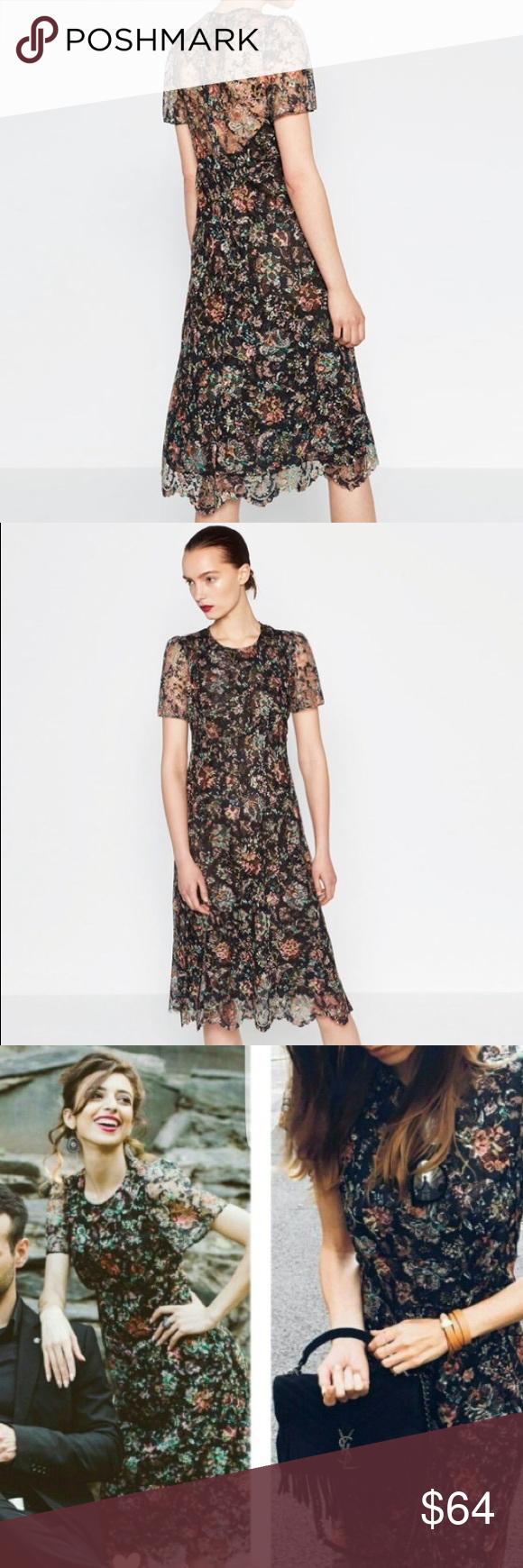 812f9849 Zara Floral Lace Midi Dress - raveitsafe