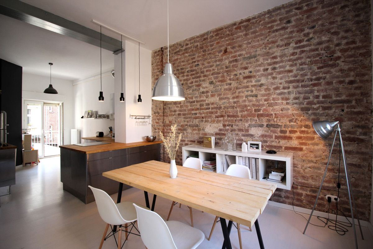 architektur esszimmer esstisch offene k che backsteinwand ziegelwand industrial loft. Black Bedroom Furniture Sets. Home Design Ideas