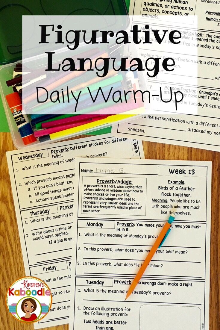 Figurative Language Bell Ringers Daily Morning Work Or Warm Ups