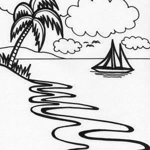 Beautiful Beach Line Drawing In Art Graphic Coloring Page