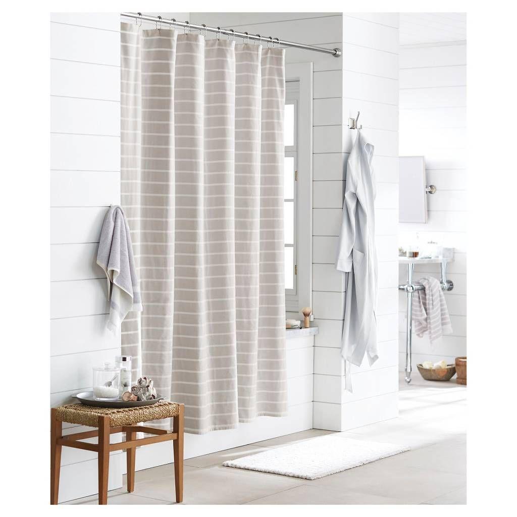 Threshold light stripe shower curtain greywhite master