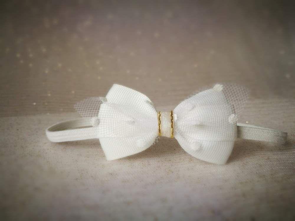 524025905c Wyjątkowa kokardka tiul biała na chrzest święta - MadebyKaza - Opaski dla  niemowląt