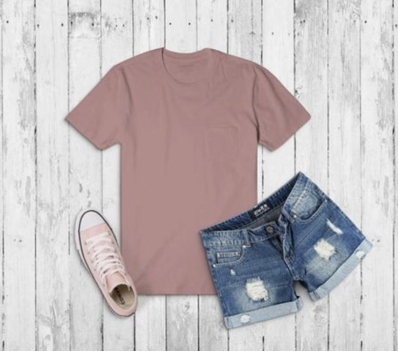 Download Blush Shirt Denim Shorts Pink Chucks Clothing Mockup Tshirt Outfits Blush Shirt