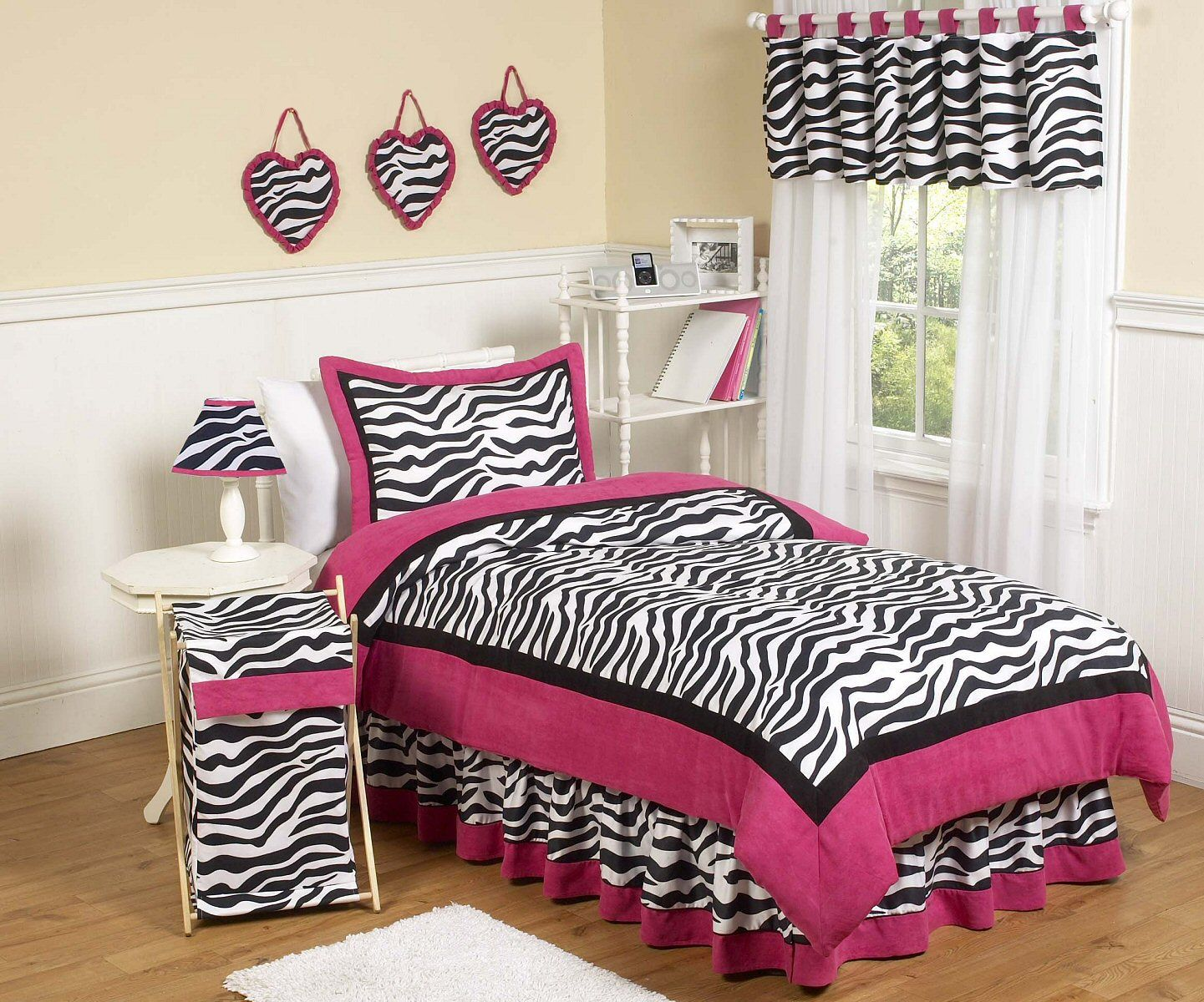 Hot Pink & Black Zebra Print Twin Comforter Set Girls