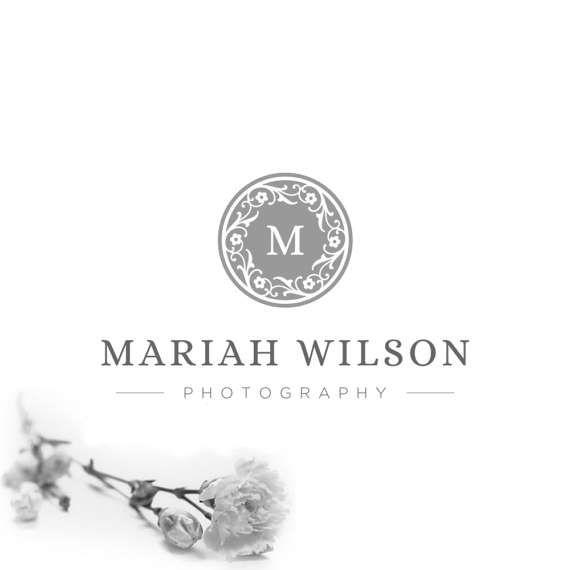 Custom Logo for Photographer Branding Kit.Flower Logos.Silver