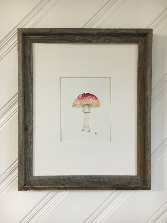 Original Watercolor Mushroom Painting Red Toadstool Woodland | Etsy