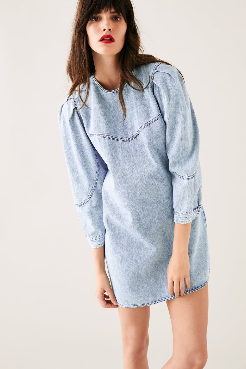 c4106e813ac Image 2 of DENIM DRESS WITH BALLOON SLEEVES from Zara