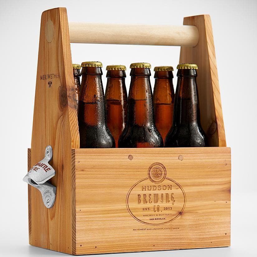 6-pack wooden beer holder with side mounted bottle opener ...