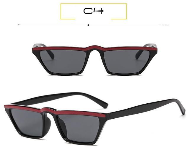 c25004d6d2 WHO CUTIE 2018 Small Rectangular Sunglasses Women Vintage Skinny Narrow  Leopard Frame 90S Chic Cat Eye