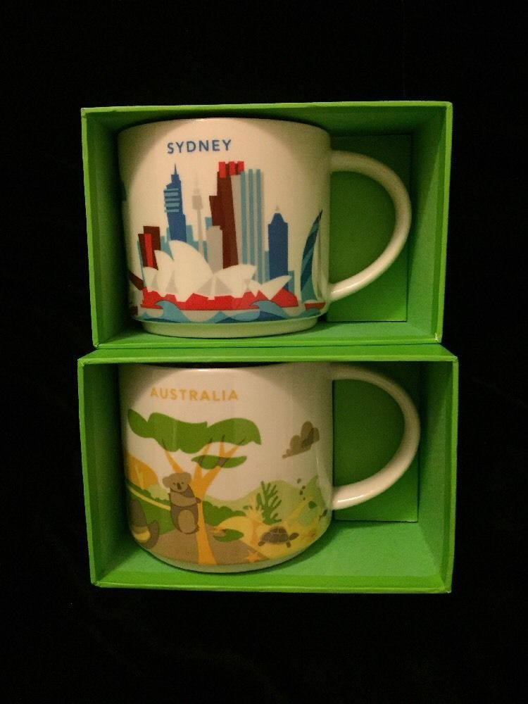 Starbucks Sydney Australia Mug Yah Set Koala Kangaroo You Are Here Outback