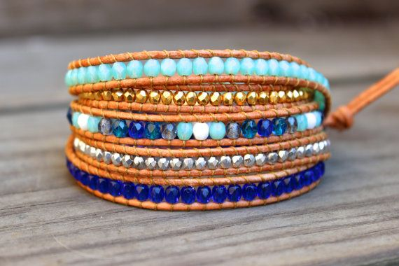 Turquoise Blue Gold and Silver Beaded Leather Wrap Bracelet 5 Wrap Summer Jewelry by BetsyGraceJewelry