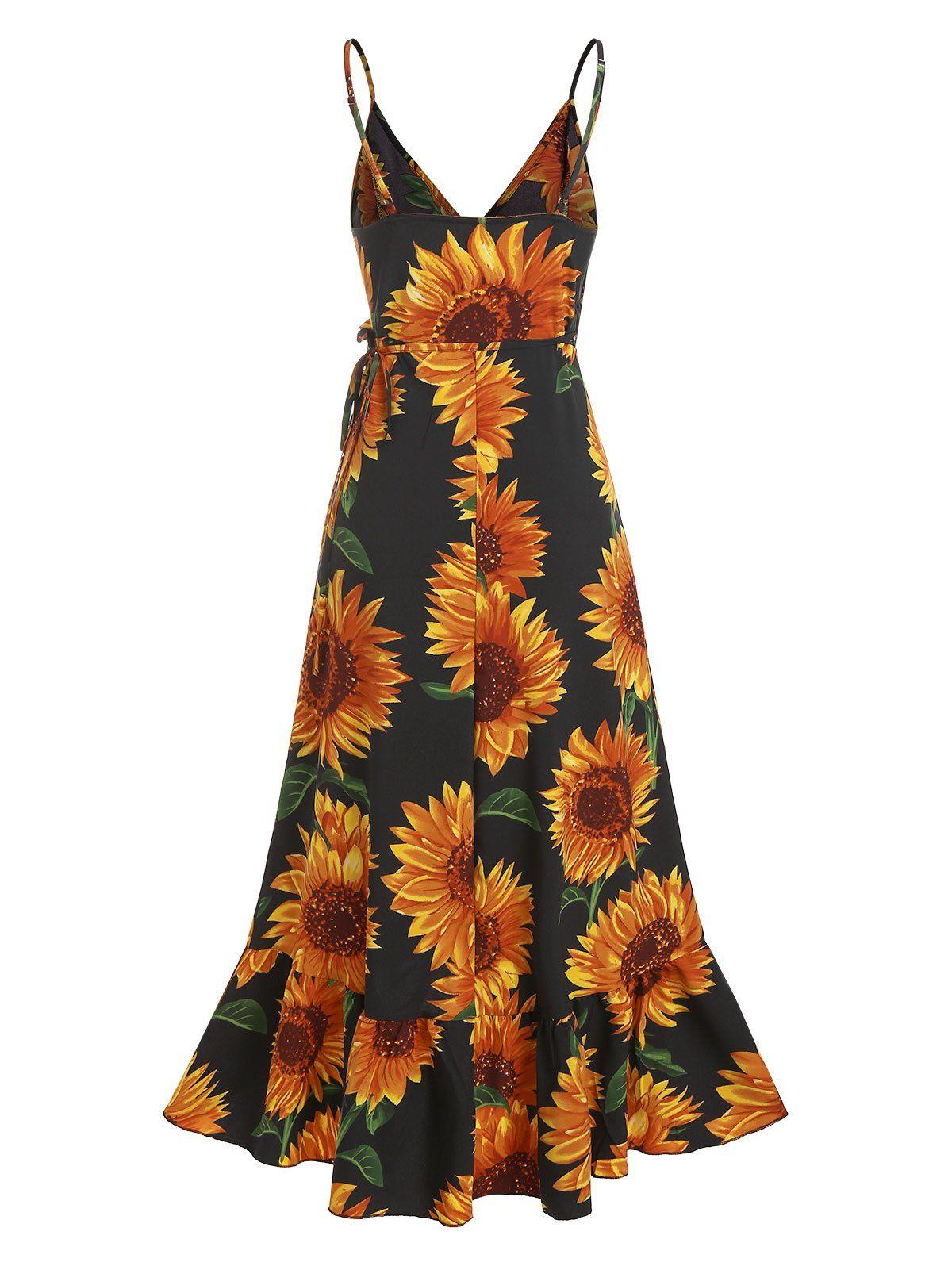 Sunflower Print Spaghetti Strap Wrap Maxi Dress Ad Affiliate Spaghetti Print Sunflower Strap Dress In 2020 Maxi Wrap Dress Dresses Summer Dresses [ 1596 x 1200 Pixel ]