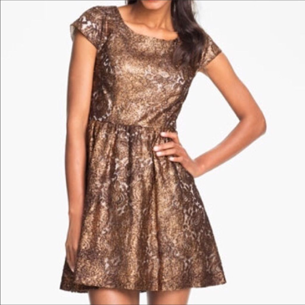 Kensie Sparkly Copper Cocktail Dress | Dresses, Gold lace