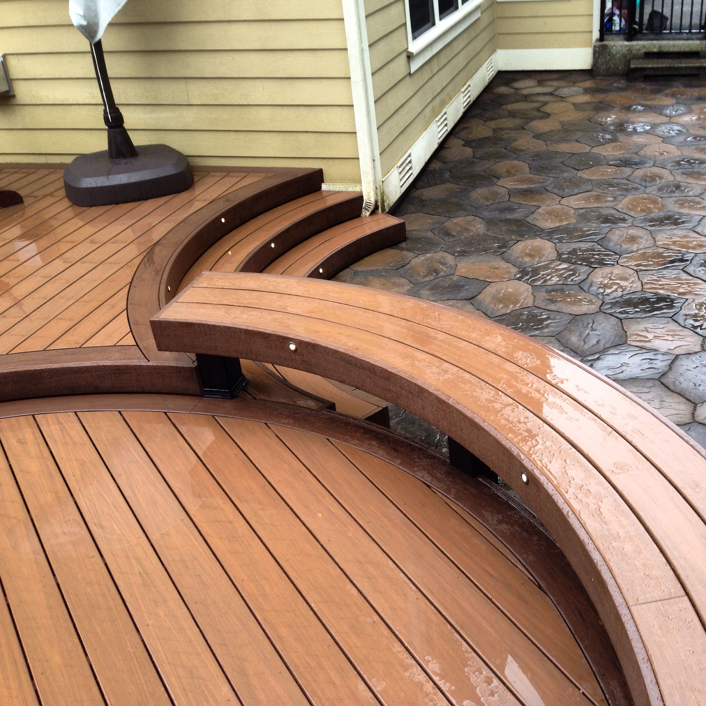 Azek Morado Acacia Curved Deck With Several Modified Heat Bent