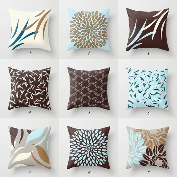 Best Blue And Brown Pillow Cover Blue Gray Cushion Covers Mix 640 x 480