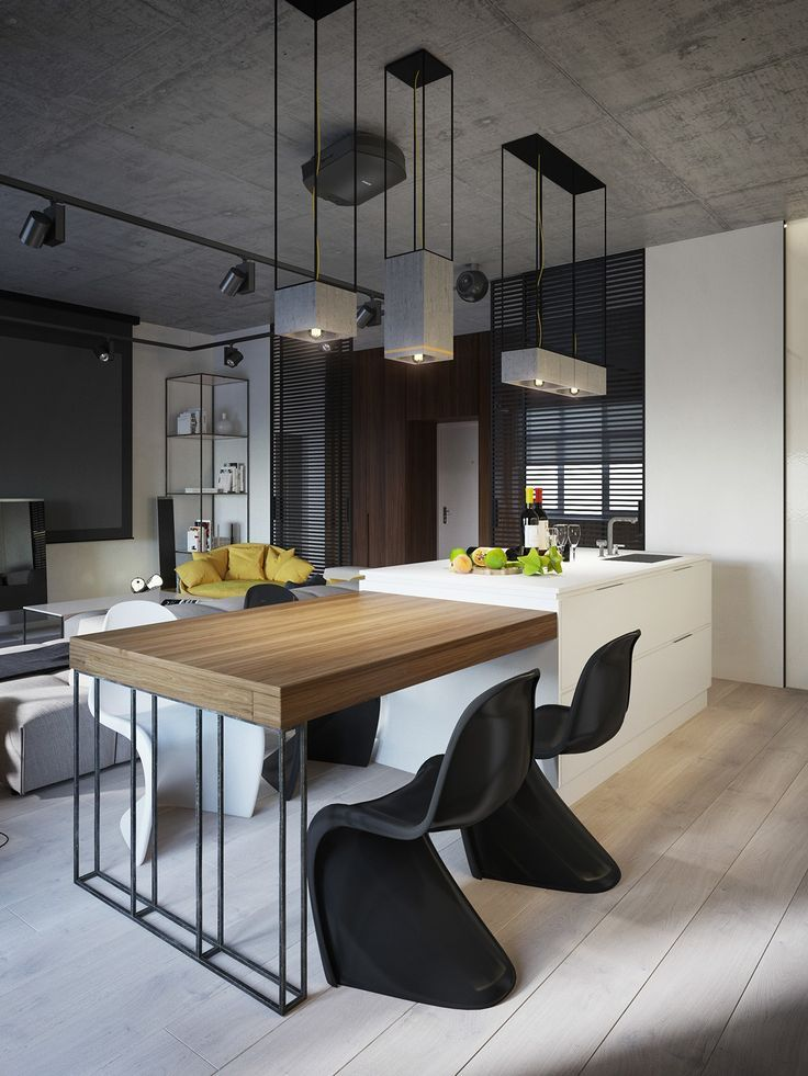 Monochrome interior and kitchen. Dining table adjacent to the ...