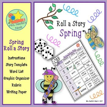 Spring Roll a Story - Story Prompts, Graphic Organizers and Rubric - half sheet template