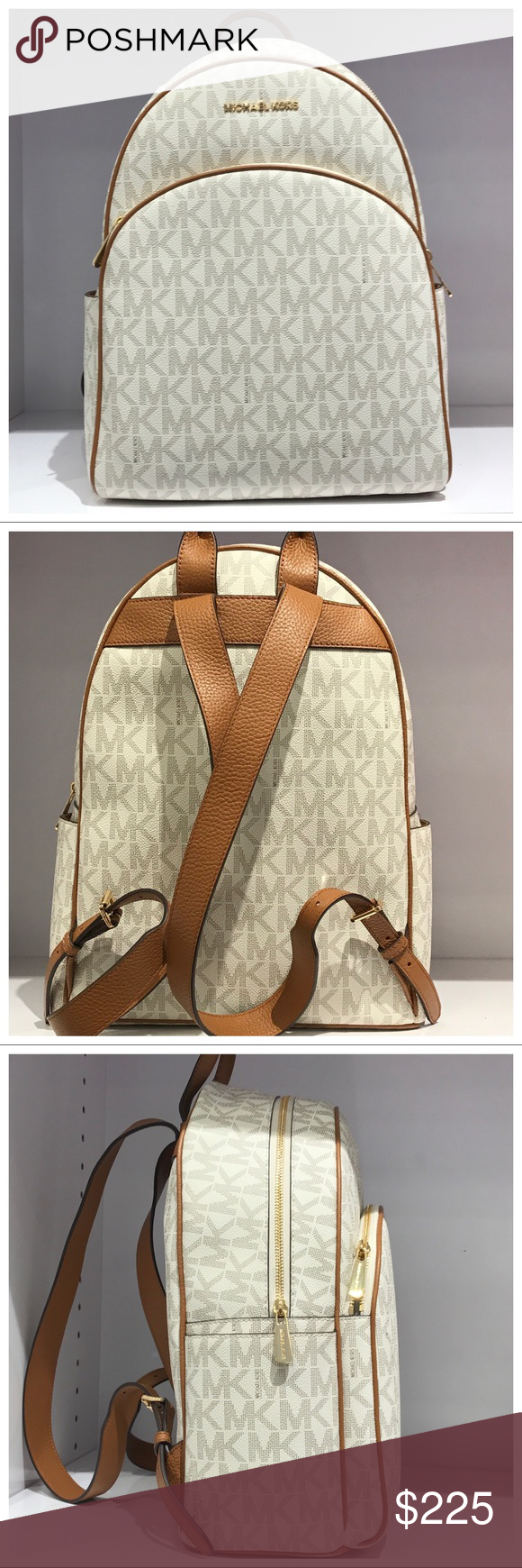 7afa067dceef NWT MK Abbey Large Backpack- Vanilla NWT MICHAEL MICHAEL KORS SIGNATURE PVC ABBEY  LARGE BACKPACK