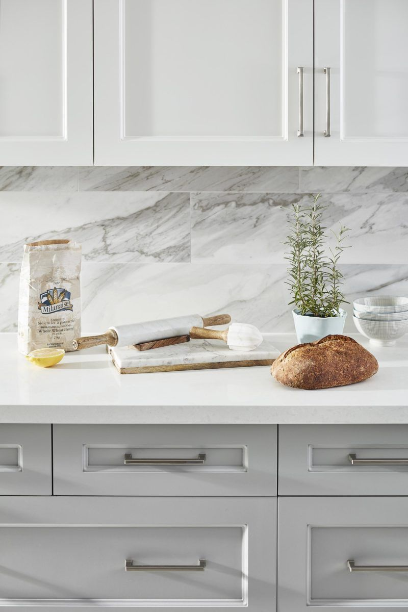 Classic Contemporary Kitchen White And Grey Kitchen Marble