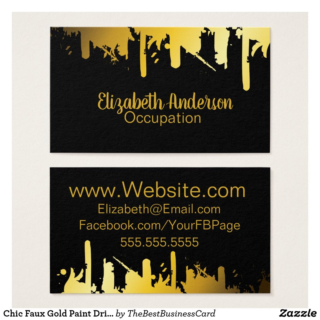 Chic faux gold paint drip modern business card modern