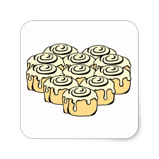 Stickers - I Heart Cinnamon Rolls Design. Express your love or ...