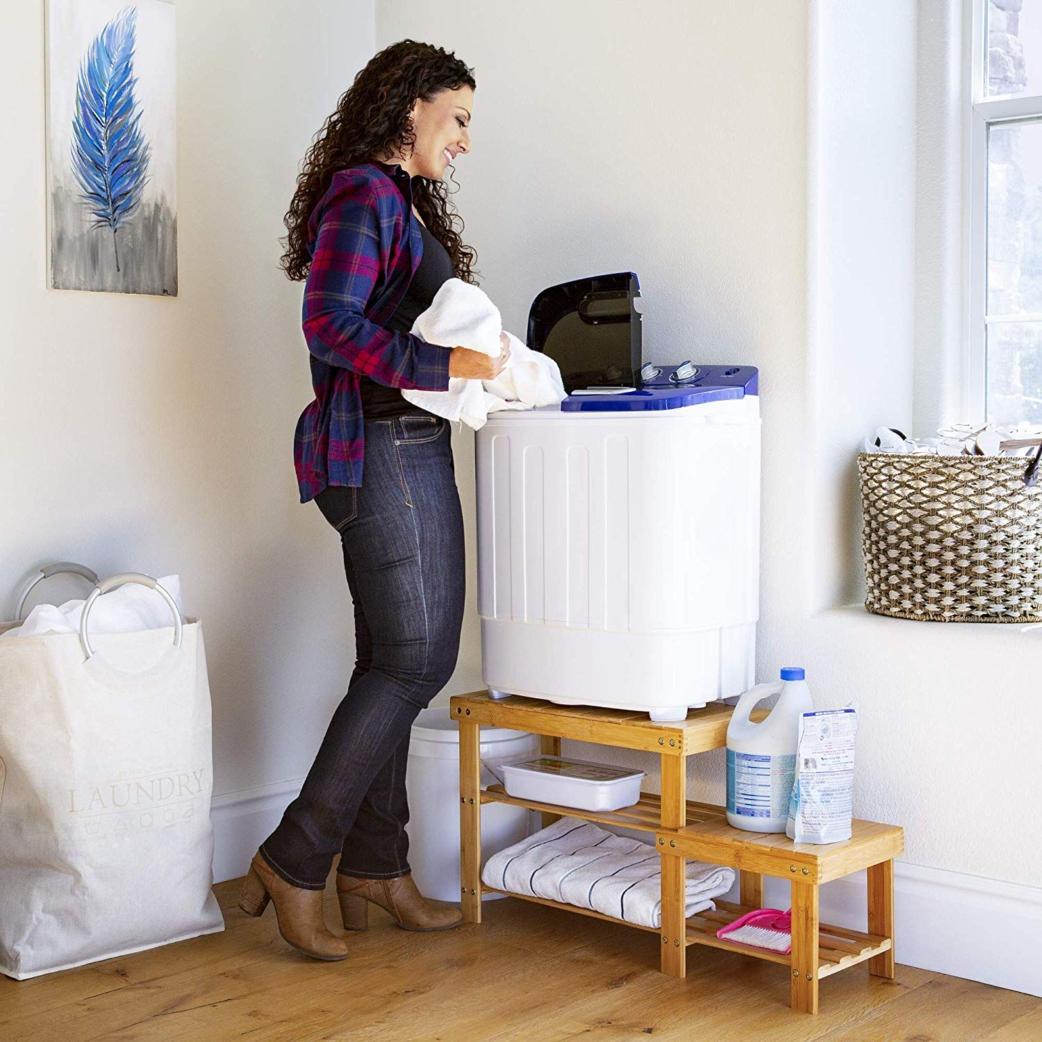White//Blue Best Choice Products Portable Mini Twin Tub Compact Washing Machine w//Spin Dry Cycle
