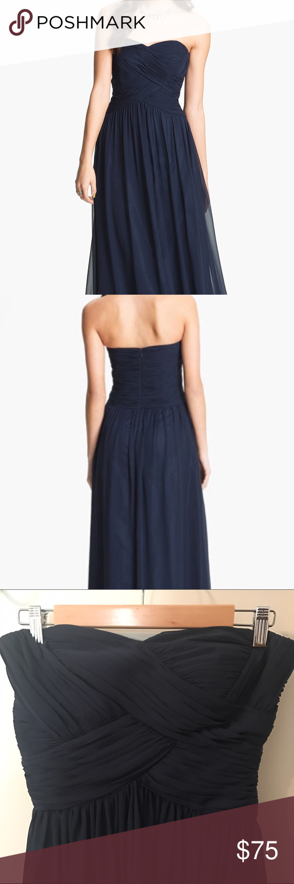 JS Boutique Strapless Ruched Chiffon Gown | My Posh Picks ...