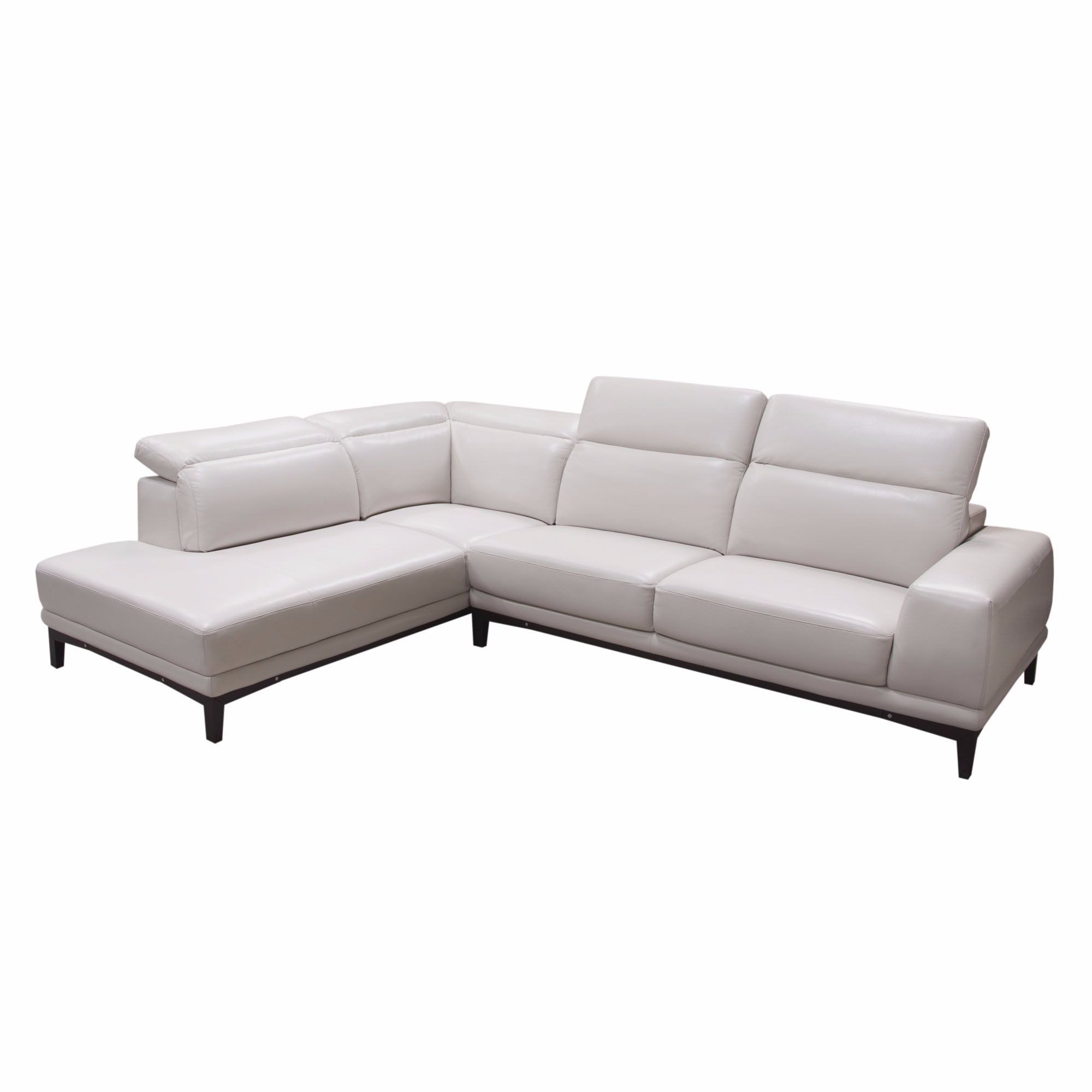 Pearl LF Chaise 2PC Sectional in Bone Air Leather with Adjustable Headrests and Wood Trim by Diamond Sofa