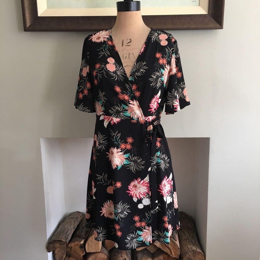 c08e897b4077 UK SIZE 12 WOMENS BLACK CREAM RED PEACH FLORAL WRAP DRESS PRIMARK  ATMOSPHERE #Atmosphere #WrapDress #AnyOccasion