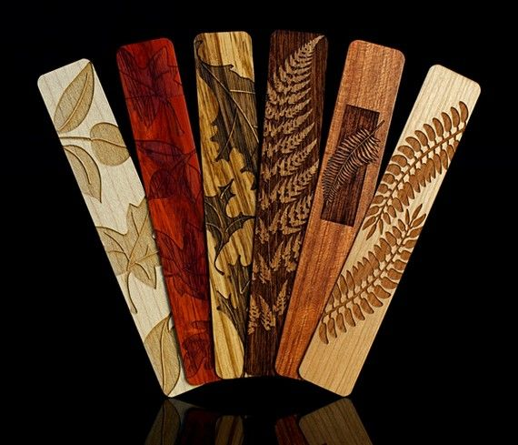 Leaves and Ferns Solid Wood Bookmark Set of 6 By Mitercraft #wooden #bookmark