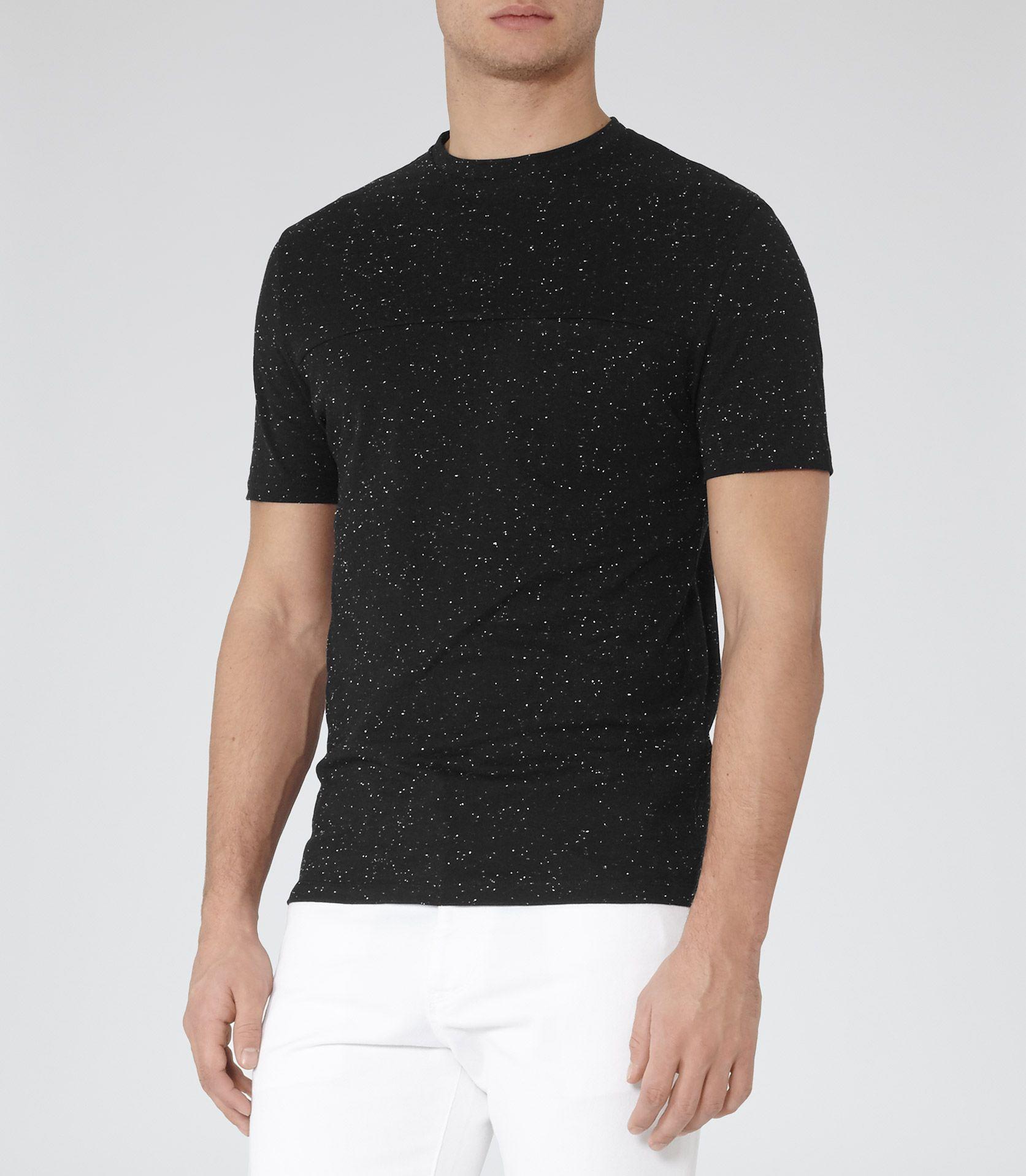 Black t shirt reiss - Black Mens Black Flecked T Shirt Reiss Marbury