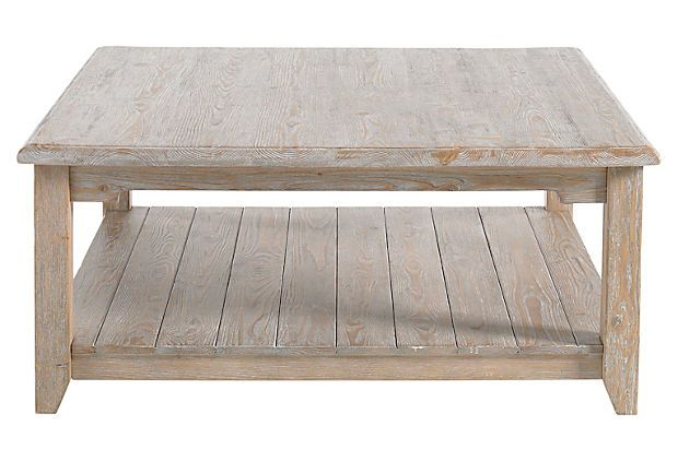 Canyon Square Coffee Table The Distressed Whitewashed Finish