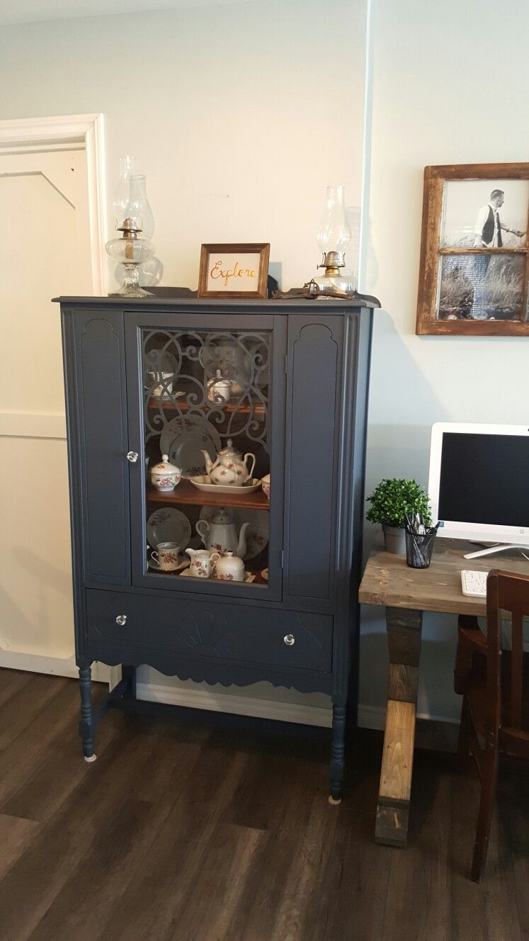 Chalk Painted China Cabinet Benjamin Moore Newburyport Blue