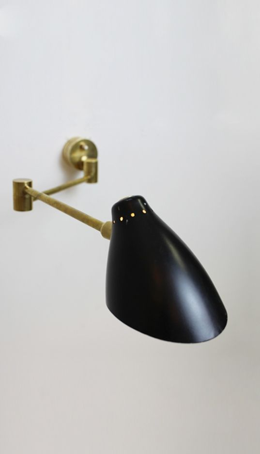 Anonymous; Brass and Enameled Metal Wall Light by Stilnovo, c1950.