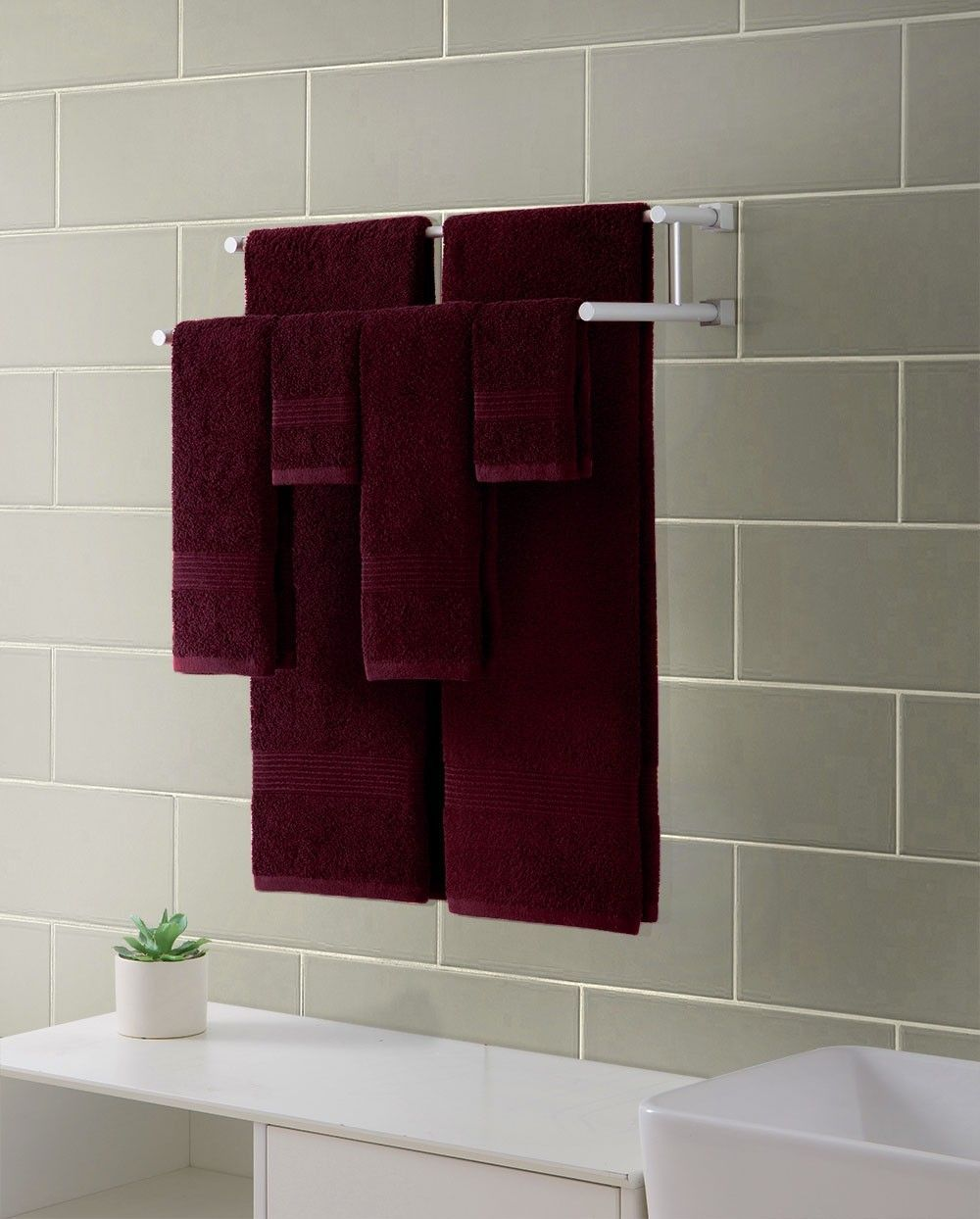 Vcny Ribbed Luxury 6 Piece Bath Towel Set Downtown Collection 100 Cotton Burgundy