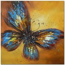 """Blue Butterfly 20x20/"""" Hand Painted Modern Impressionist Oil Painting Wall Art"""