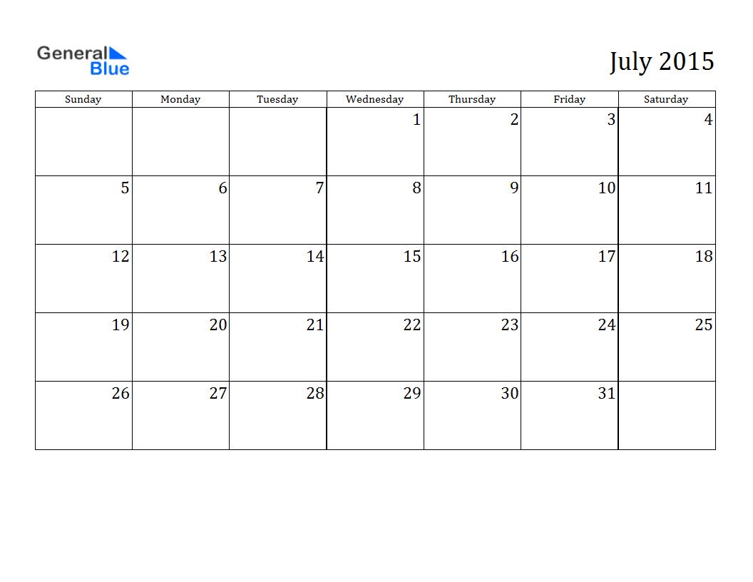 July 2015 Calendar Fillable Minnesota Hunting Spaniel Association