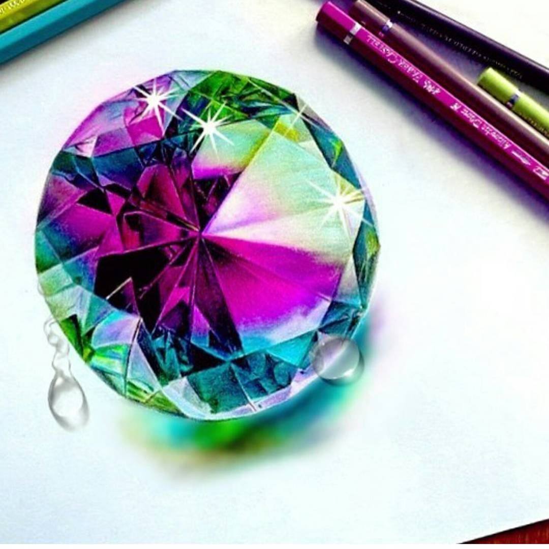 """17.3k Likes, 39 Comments - University Art  (@artistuniversity) on Instagram: """"""""Multicolored Gem"""" by @drawingfeever Follow @drawingfeever . . . Shared by @jd_tech_art . . . Tag…"""""""