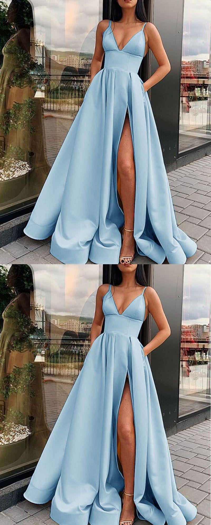 babyblau lange Ballkleider / Abendkleid   – Promm