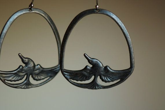 鳳凰 - Black Patina Fenghuang Phoenix Earrings