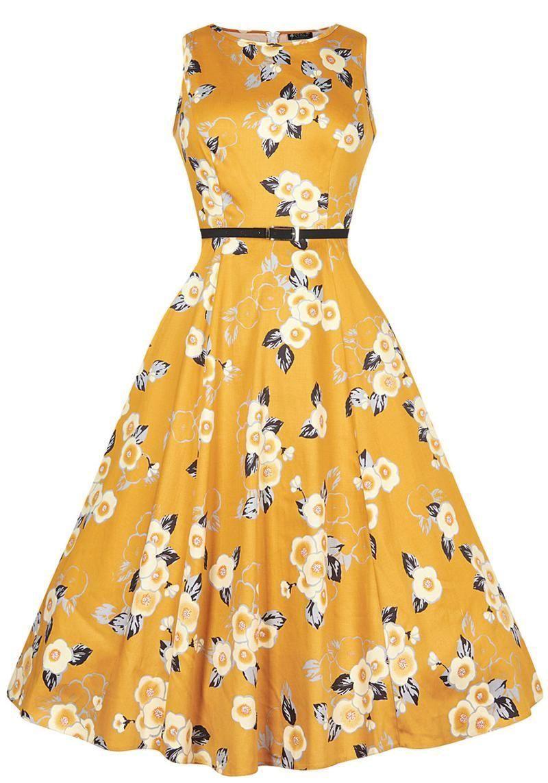 Yellow Floral Hepburn, Mekko - Ilmainen ja nopea toimitus! - Miss Windy Shop