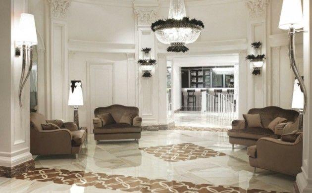 bodenbelag wohnzimmer luxuriöse bodenfliesen braune sofas helles ...