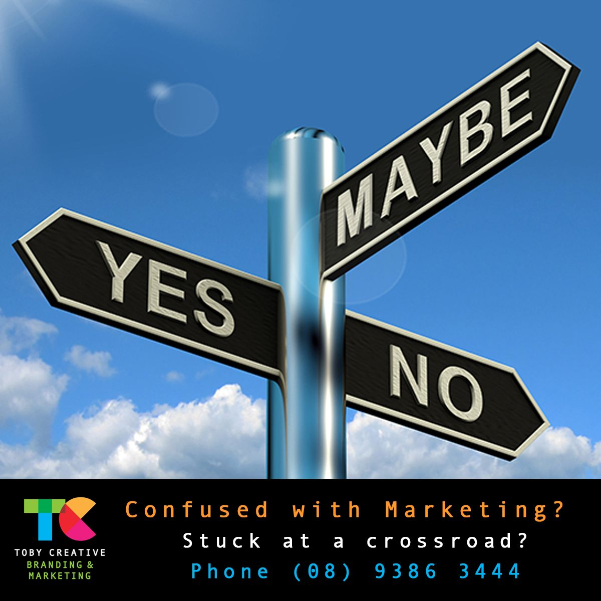 Confused with Marketing? Are you stuck at a crossroads and need some marketing assistance? Phone Toby Creative - Branding & Marketing Perth on (08) 9386 3444, email info@tobycreative.com.au or visit https://tobycreative.com.au/ #tobycreative #branding #marketing #perth #strategy #implementation #reporting #perthseo