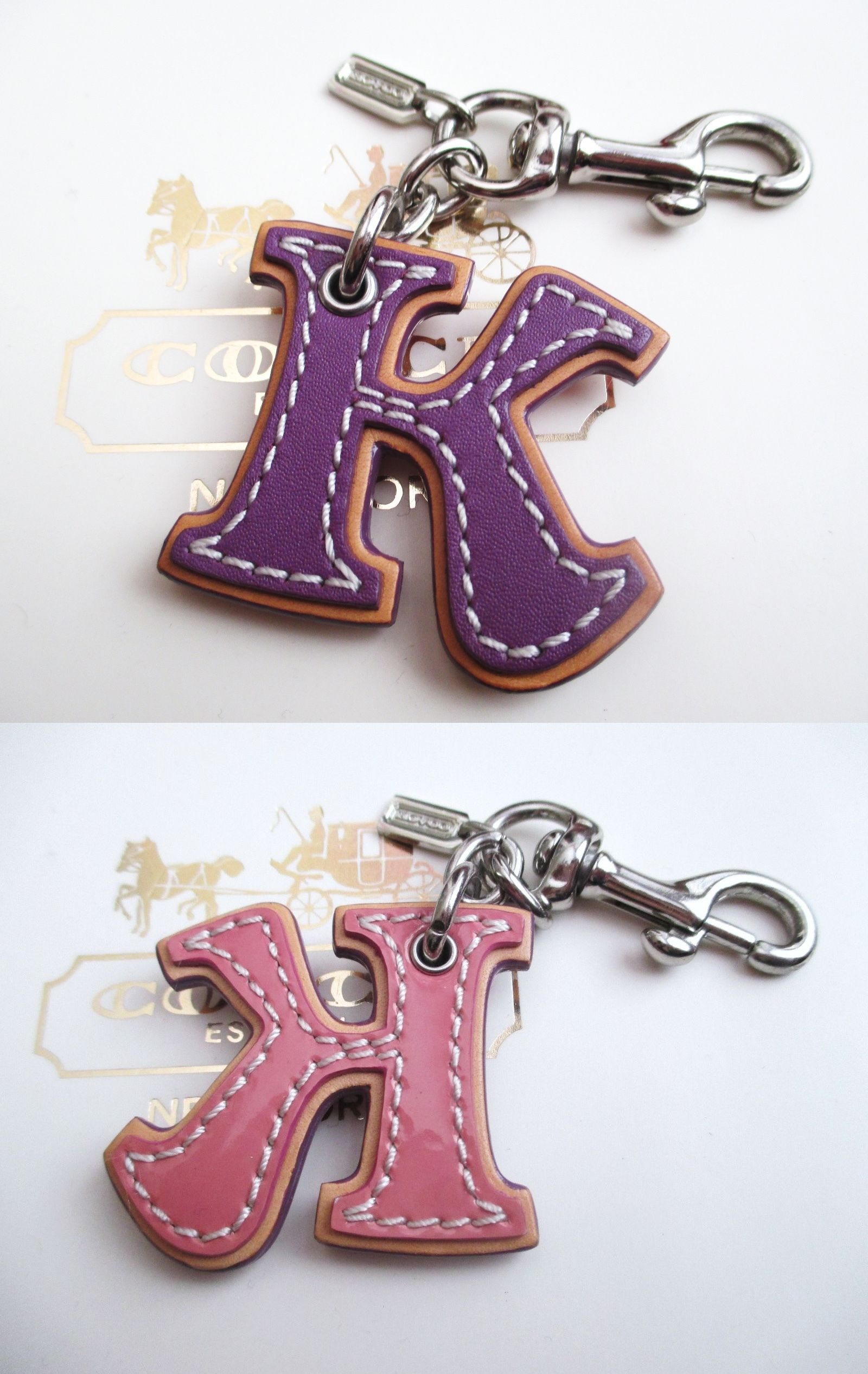 bc59588f24 Key Chains Rings and Finders 45237  Coach Leather Initial Alphabet Letter K  K Key Fob Chain Keychain Charm -  BUY IT NOW ONLY   58 on eBay!