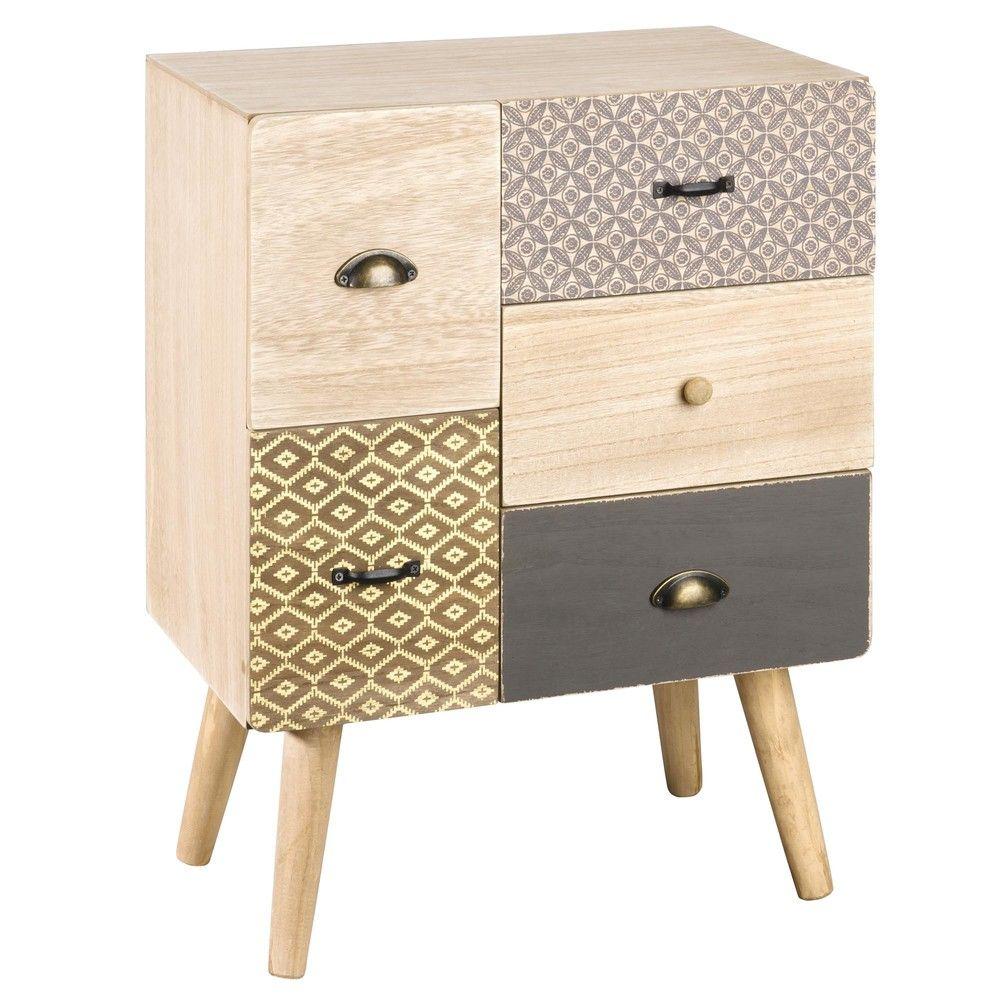 petit meuble de rangement 5 tiroirs motifs maisons du monde