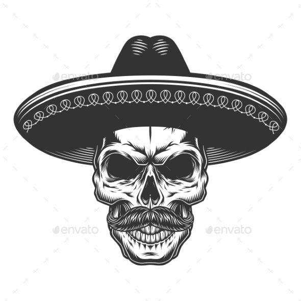 Schädel im mexikanischen Sombrero ädel