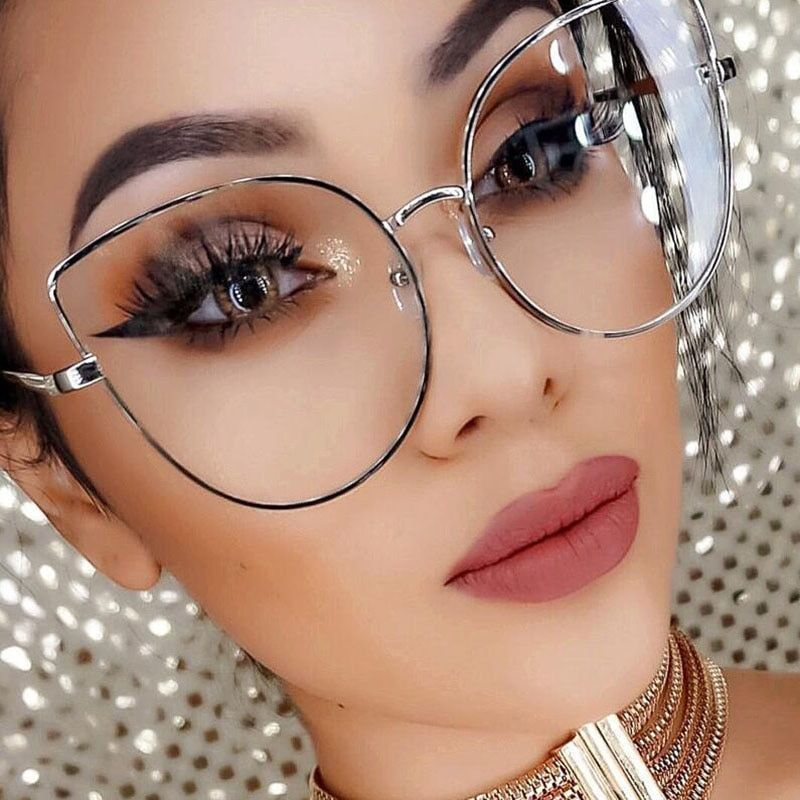 845f78562b7 Oversize women metal cat eye glasses frame brand designer fashion men clear  lens eyeglasses  frames  eyewear  accessories  women  alloy  solid  come   with ...