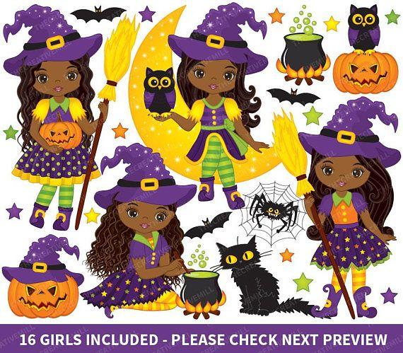 Halloween Witch Clipart Halloween Clipart Witch Clipart African American Clipart Halloween Girls Clipart Cute Witch Clipart Witch Clipart Halloween Clipart Halloween Witch