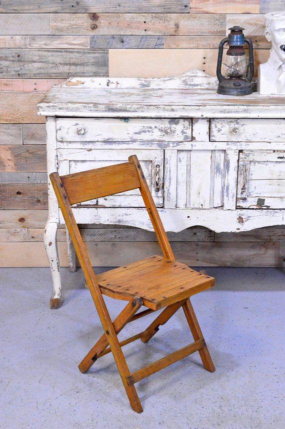 Vintage Wood Folding Chair Fowler Wood Folding by ScoutandForge - Vintage Wood Folding Chair, Fowler Wood Folding Chair, Fowler Chair